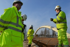 Reporters from media across Surrey took an up close look at the new Walton Bridge.