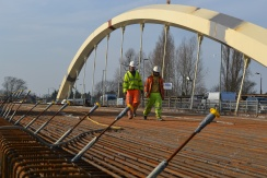 Workers on the new Walton Bridge.