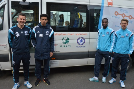 Chelsea footballers help to launch community busservice