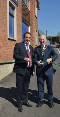 Council chairman David Munro opens the cycle path with Jewson Area Director Neil Osborne