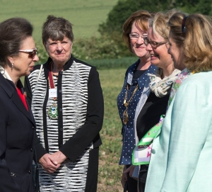 The Princess Royal meets dignitaries including Surrey Chairman Sally Marks (third from left). Click image to download.