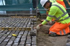 Work (above and below) on relaying the setts