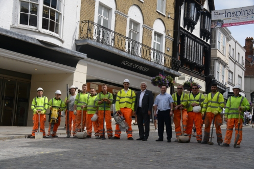 Peter Martin (centre left) and Paul Spooner with the setts workers
