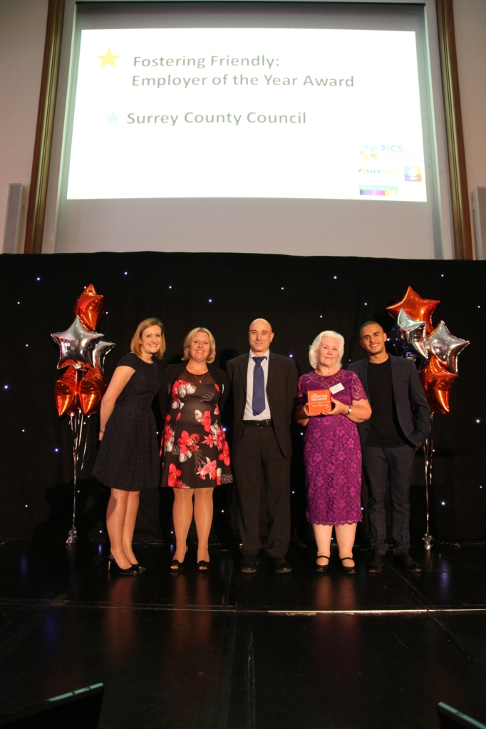 Pictured from left to right: Melissa Green, Director of Operations at The Fostering Network, Cindy Morris, Surrey foster carer, Simon Newstone, from Partnerships in Children's Services, Linda Johnson, from Surrey County Council's fostering service and Ashley John-Baptiste, BBC journalist and ambassador for The Fostering Network.