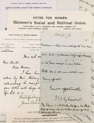Image 1. Dorothy Hunter Suffrage papers close up ref.1260_27