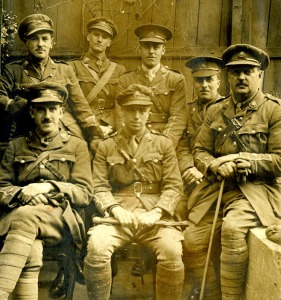 "Lt Douglass (first row, first left) was nicknamed ""Father"" by his colleagues and may have provided some of the inspiration for the character of Lt Osborne who is known as ""Uncle"" in the play and film; RC Sherriff himself is back row, second from left, pictured with other officers of C Company, 9th Battalion, East Surrey Regiment Credit: Surrey History Centre/Kingston Grammar School"