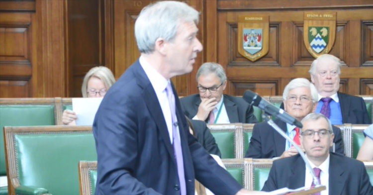 Surrey County Council Leader Tim Oliver speaking to Full Council